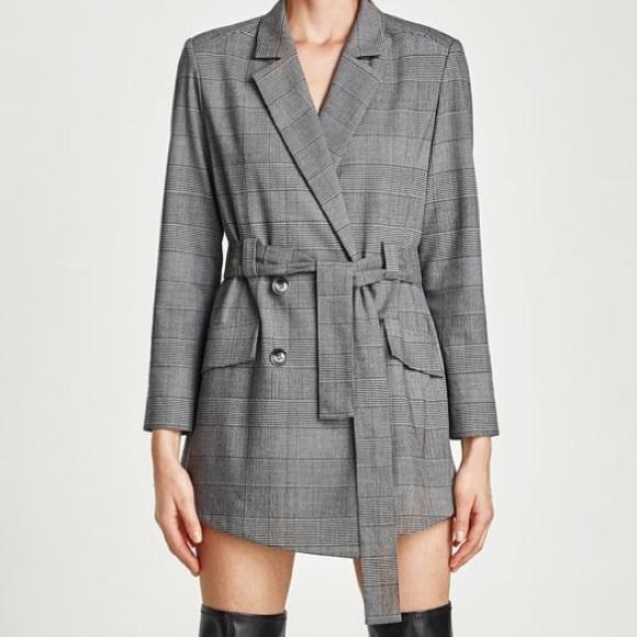 5d981f65fb64 Zara Pants | Checked Blazer Style Jumpsuit | Poshmark